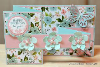 """JanB Handmade Cards Atelier: Double Z Card? To make this fold all you need is a card base. 11"""" X 4 1/4"""" scored at 2 3/4"""" and 5 1/2"""". Floating strip is 11"""" x 1' scored at 2 3/4"""" and 5 1/2"""". The card folds flat and fits perfectly into a size A2 envelope"""
