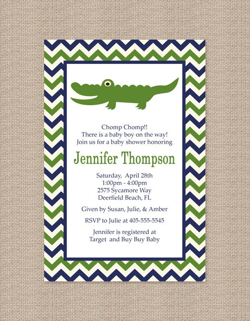 135 best images about alligator baby shower on pinterest, Baby shower invitations