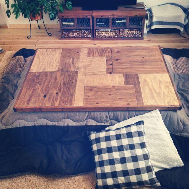 ayaさんの、机,DIY,リメイク,ニトリ,こたつ,ワトコオイル,端材,ブライワックス,スギ材,のお部屋写真