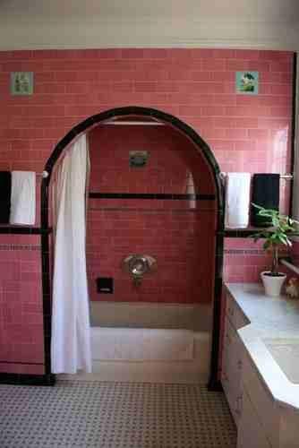 Vintage Pink U0026 Black Tiled Bathroom With Arch Over Tub