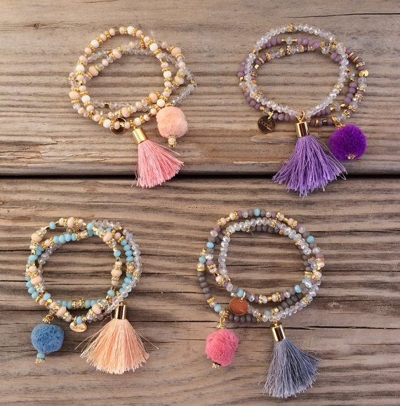OOAK SET: 3 beaded bracelet in pastel colors with tassel and pompom