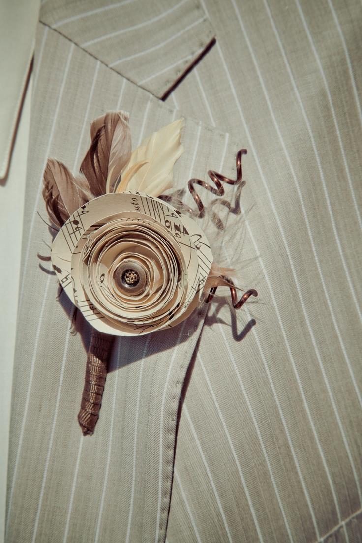 paper boutonniere... @Rebekah Ahn Palmer Dunn this is soooo youuuu.