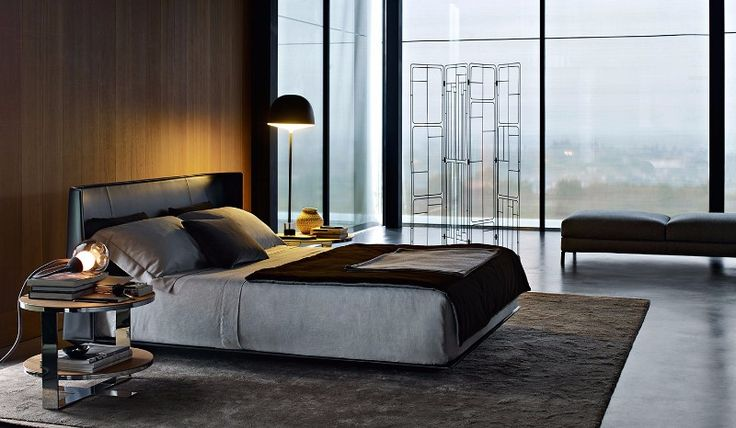 The Alys bed design in black (top) and brown (bottom), in two distinct settings, the first an urban loft and the second a more relaxed contemporary style.design colorful headboard charming wall fixtures modern master bedroom 2
