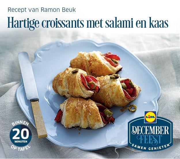 Deze hartige croissants met salami en kaas zijn gemakkelijk zelf te bereiden! Meer December Feest recepten ontdekken? Kijk op www.lidl.nl #Lidl #Decemberfeest