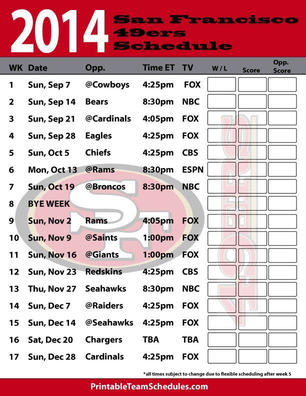 2014 San Francisco 49ers Schedule