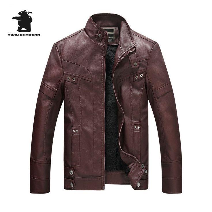 2017 Winter Men's Leather Jacket Fashion Stand Collar Casual PU Biker Jacket Men Leather Bomber Jacket Coats M~2XL D8F8858 #Affiliate