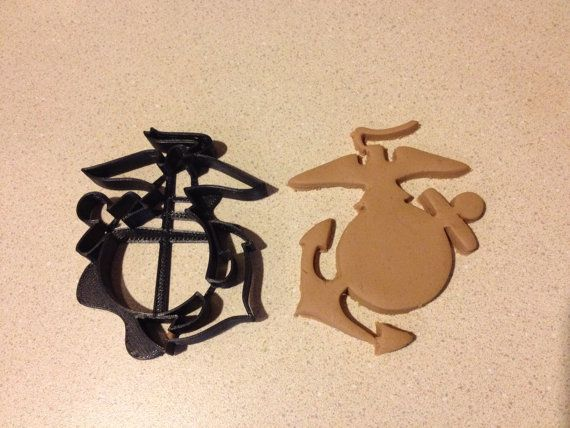 Marines Eagle, Globe, Anchor Cookie Cutter. US Marine Corps EGA logo. Semper Fi. Great for cookies, fondant, Play-Doh. ABS dishwasher safe