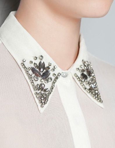 BLOUSE WITH APPLIQUÉS AROUND NECKLINE - Shirts - Woman - ZARA United States