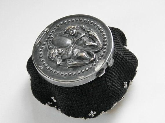 Antique Black Silver Metal Bead Change Purse by GrandVintageFinery, $98.00