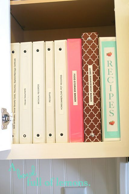 Here are some of my binders.  I keep a binder for EVERYTHING!!!    Receipts  Medical Records  Food Storage  Recipes  Home Management   Household Documents  Pet Records  Insurance (House, Car, Life)
