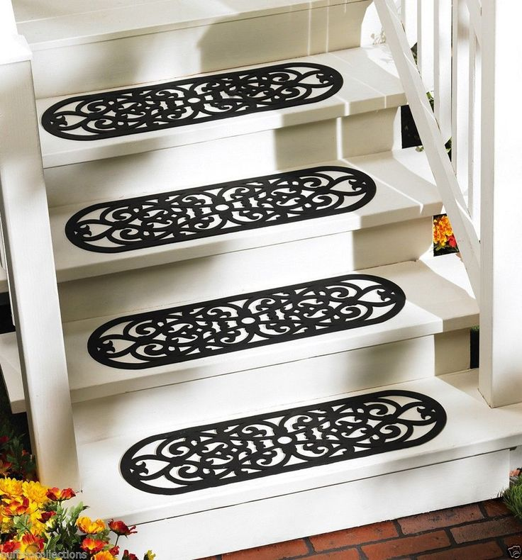 Best Set Of 4 Heavy Duty Black Rubber Scrollwork Safety Porch 640 x 480