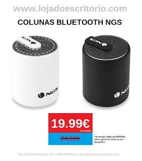 Colunas Bluetooth NGS Aproveite os 20% desconto só até 29/02/2016. Coluna portátil sem fios com Bluetooth 3.0, alcance 10 m, tamanho mini, fáceis de transportar. Oferece uma grande qualidade de som.