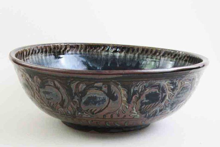 "Fire Bird Bowl. Large stoneware ash-glazed bowl, 13"" diameter. Sgraffitto jun glaze decoration."