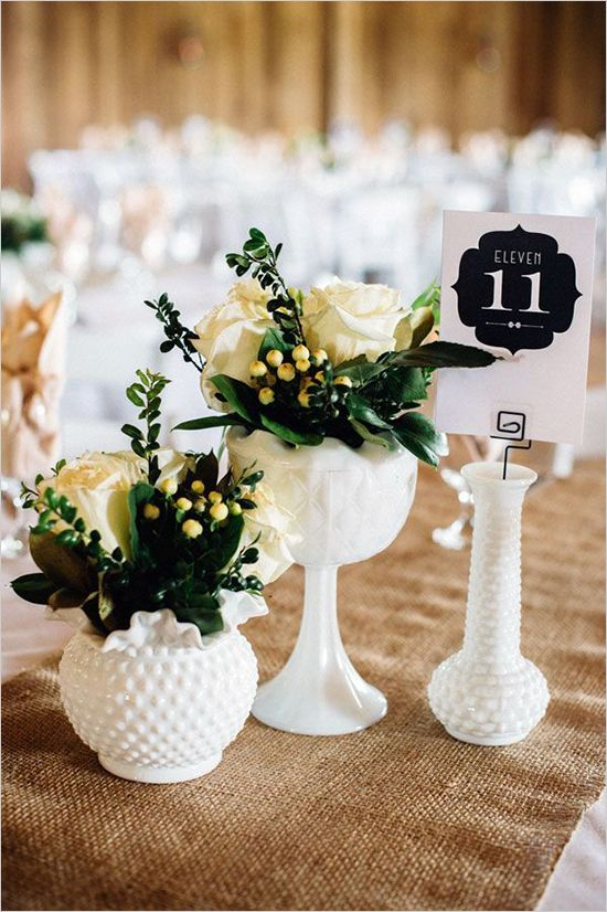 White milk glass wedding decor ideas #rusticwedding