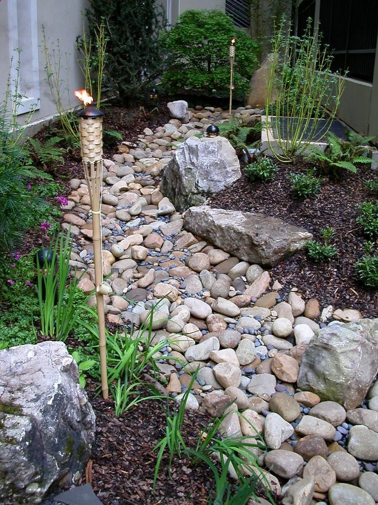 Turning your drainage ditch into a beautiful dry stream bed | For the side of the house. Maybe we could also do this for the ditch in the front yard