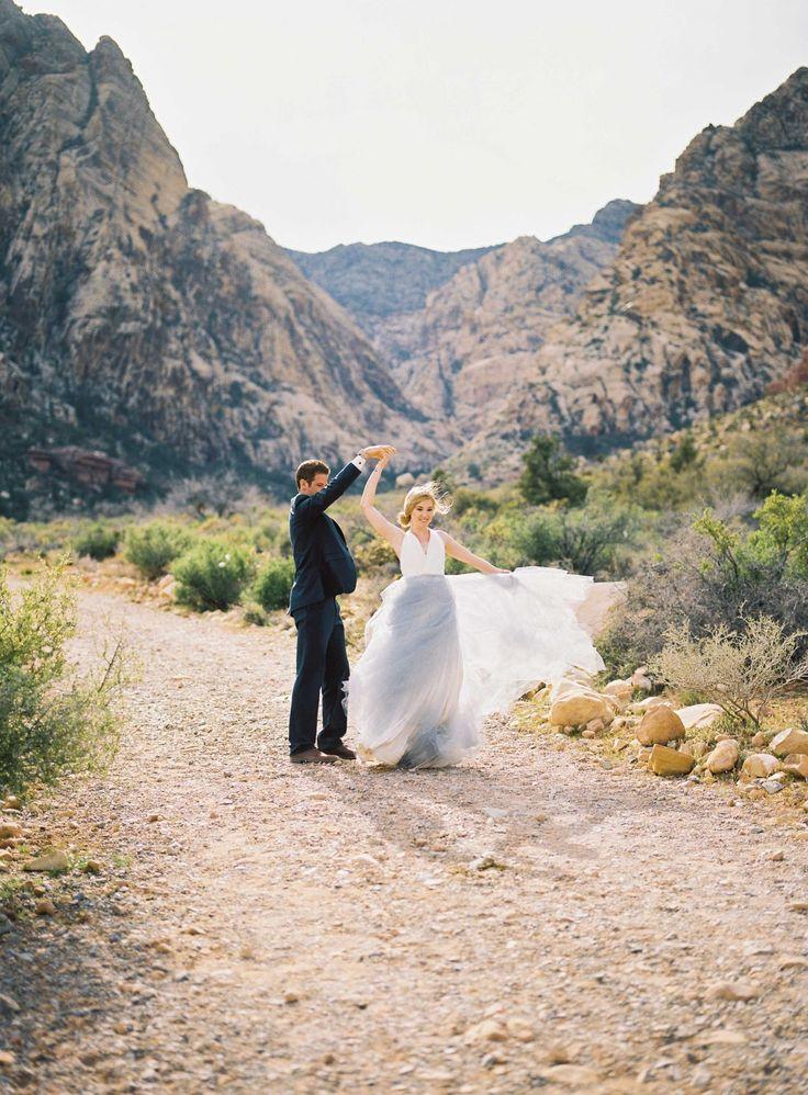 Blue Wedding Dress Spring Mountain Ranch Desert Peach Bouquet
