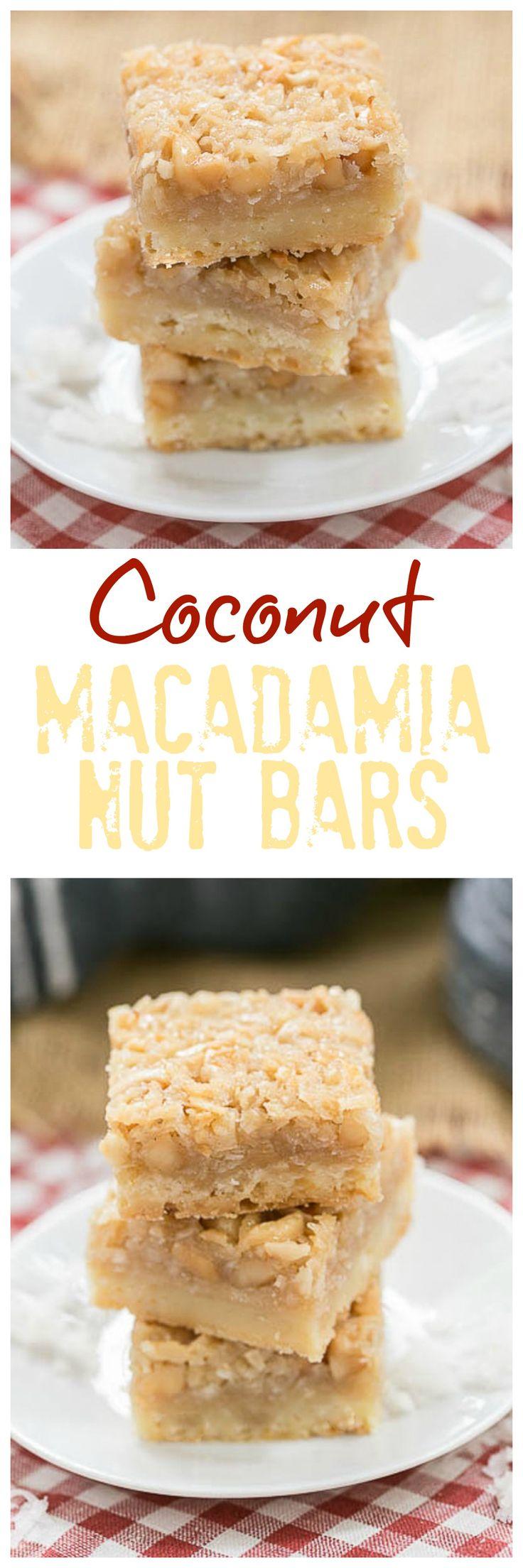Coconut Macadamia Nut Bars | Coconut lovers' dream bars! @lizzydo