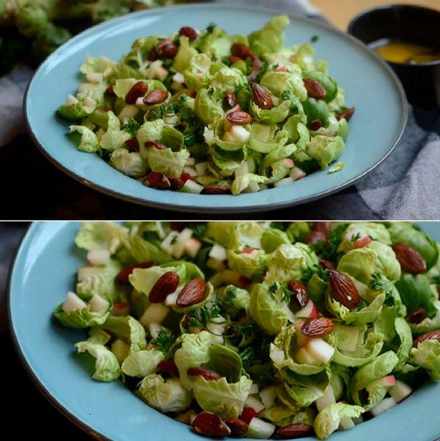 Rosenkål smager skønt rå, og i denne salat kombineres de fine blade med søde æbletern og ristede mandler.