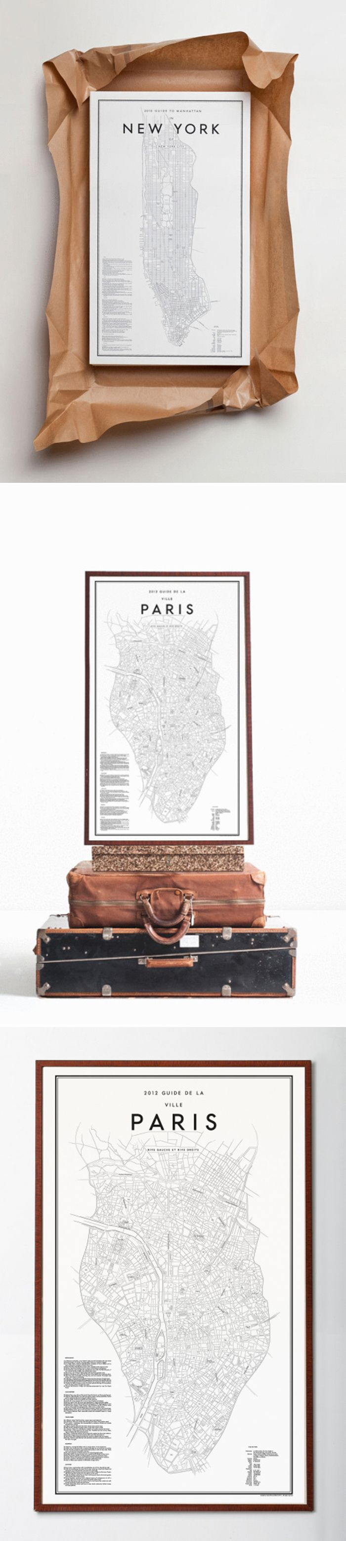Guide to Manhattan by David Ehrenstråle via julia.blogg.se {display in brown paper}