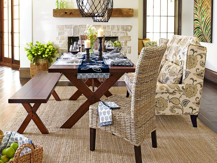 Ready For A Crowd: Dining Chairs, Simple Bench And An Upholstered Settee. #