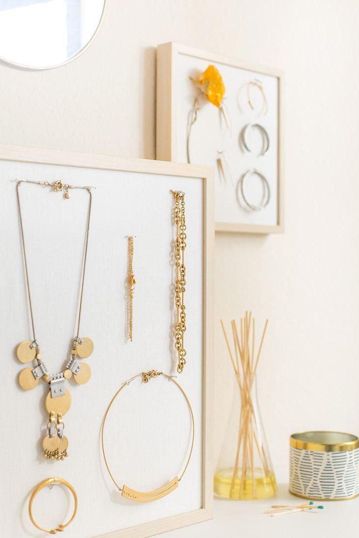 DIY Wood and Linen Mounted Jewelry Display IKEA Hack