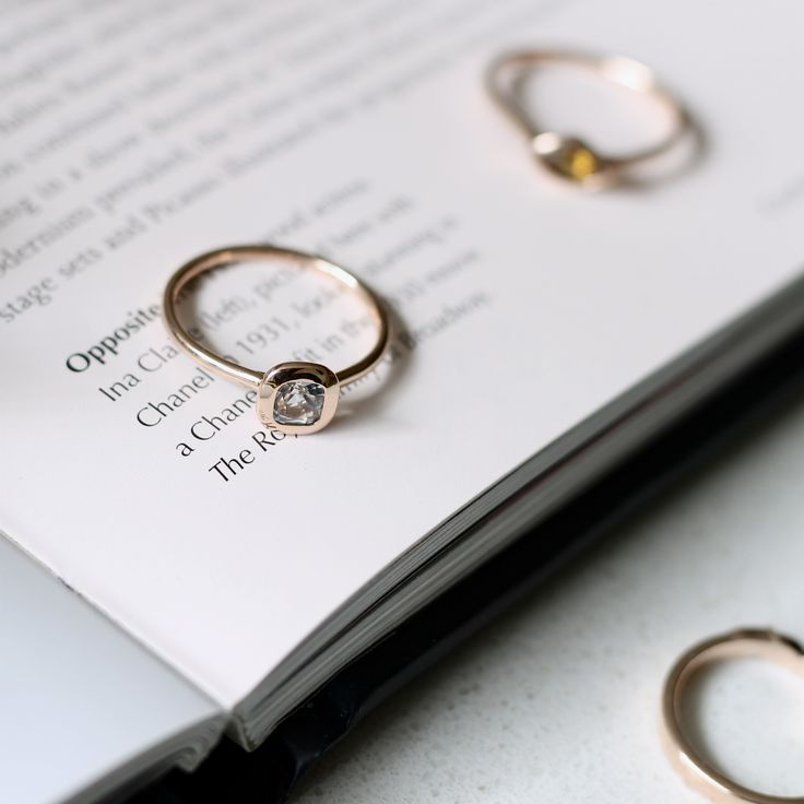 14ct rose gold and white topaz dress ring. Affordable luxury from vinnyandcharles.com
