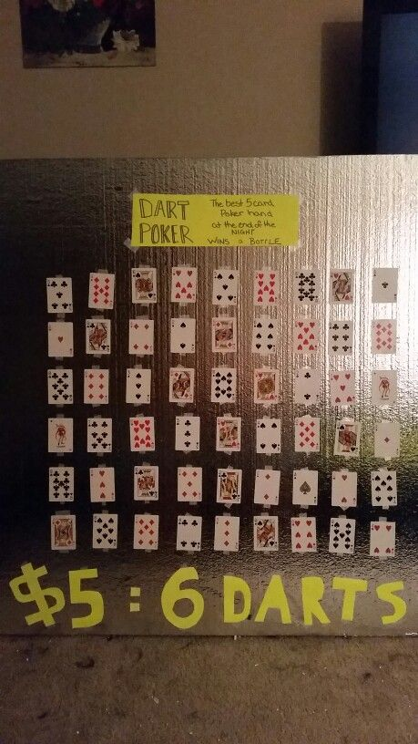 Dart poker ~ 6 darts, 5 best cards are a poker hand. Best hand wins!