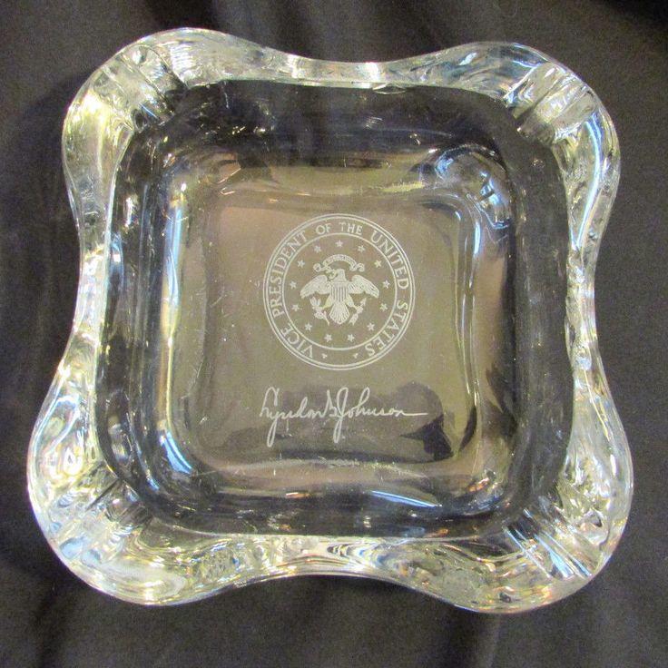Vintage Vice President Heavy Crystal Ashtray Lyndon B. Johnson Presidential Seal