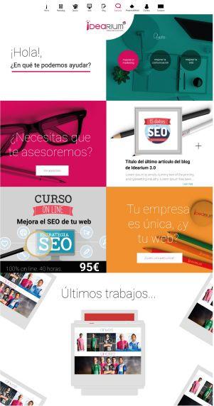 """Página web de Idearium 3.0 La agencia de marketing, diseño y comunicación para pequeñas """"grandes"""" empresas"""
