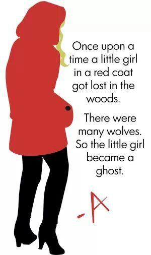 This is such a great explanation I can't even. Érase una vez una niña en un abrigo rojo tiene una perdida en el bosque.  Había muchos lobos. Así que la niña se convirtió en un fantasma.