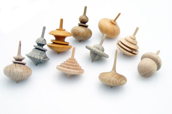 "Hand-Turned Wooden Spinning Top, 2010, Pagoda Tree/Birch/Japanese Yew/Bogwood | 1"" D x 1.5-2"" H 