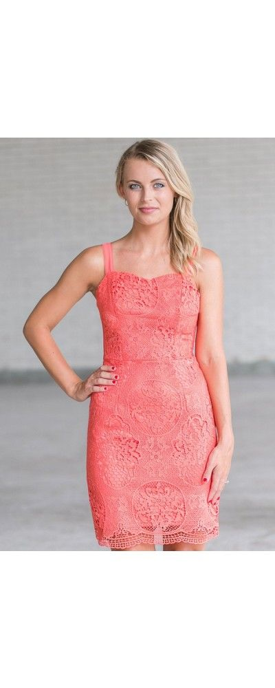Lily Boutique Hydrangea Garden Crochet Lace Dress in Coral, $42 Pink Lace Sheath Dress, Cute Pink Dress, Pink Lace Cocktail Dress www.lilyboutique.com
