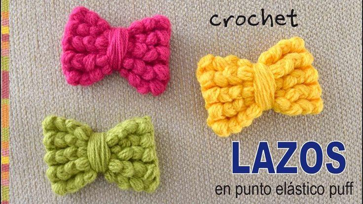 Lazos o moños tejidos a crochet en punto puff elástico - Tejiendo Perú - YouTube