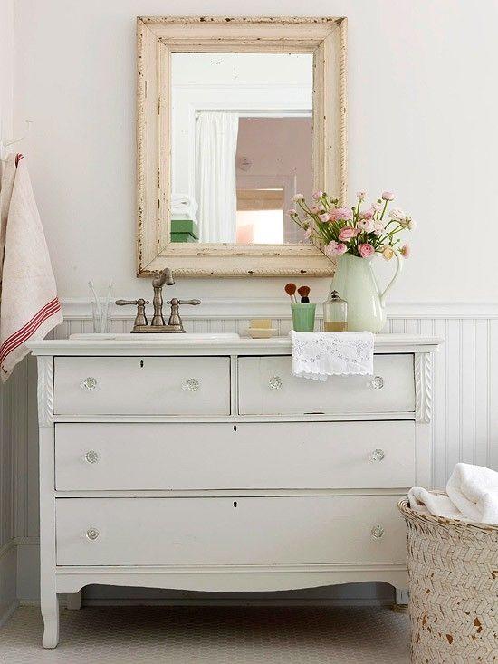 Old dresser repurposed  sink bathroom vanity in shabby white, bead board walls, chippy mirror