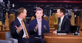 Peyton Manning makes fun of cardboard Eli Manning's Super Bowl face