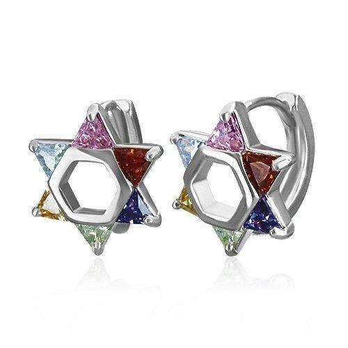 Bling Jewelry Stainless Steel CZ Multi Color Star of David Huggie Hoop Earrings