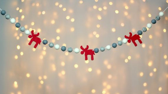 SALE Felt Balls Garland Christmas Decoration by sewtotallyperfect