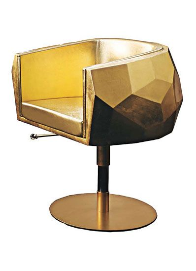 Fendi Casa's carbon fiber, gold-leaf, and leather chair.Gift Guide, Goldleaf, Casa Carbon, Gold Leaf, Fendi Casa, Beautiful Salons, Carbon Fiber, Leather Chairs, Design