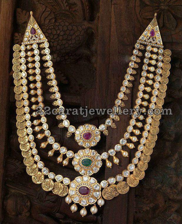 Three Layers Polki Kasu Mala - Jewellery Designs