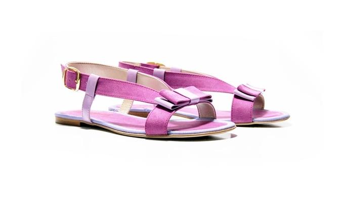 Sandalo Giada in microfibra e vernice color malva