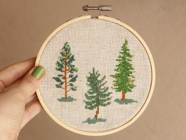 cross stitch hoop art fir-tree, pine forest
