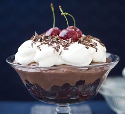 Black Forest trifle. Indulgent trifle won't keep you in the kitchen for long but will impress guests at your next get-together.