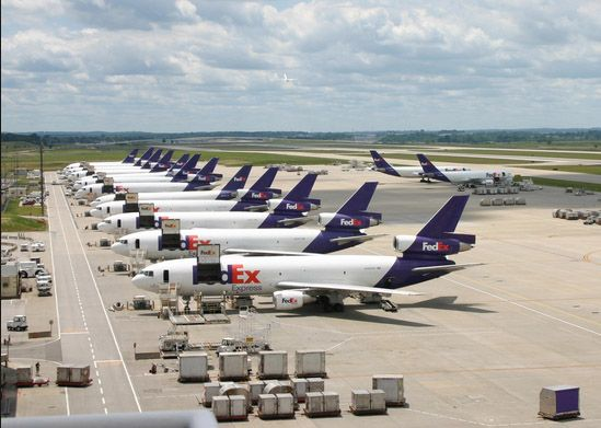 Fedex airplanes are lined up at the carrier's Indianapolis hub