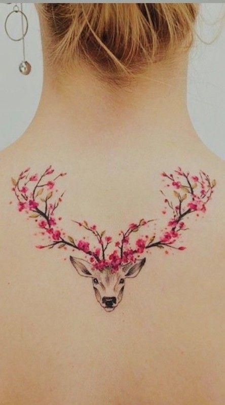 Cherry Blossom Deer Tattoo #tattoo #tattoos #tattooideas #tattoodesigns – #bloss…