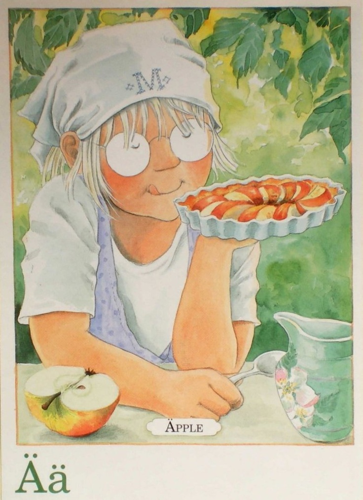 Ä for äpple - Apple | Illustrations by Lena Anderson from 'Majas alfabet'