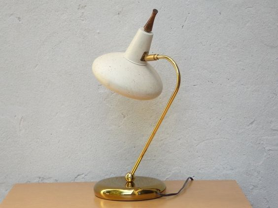 I Like Mike's Mid Century Modern - Brass & Cream Desk Lamp with Speckled UFO Shroud with Starlight Cutout