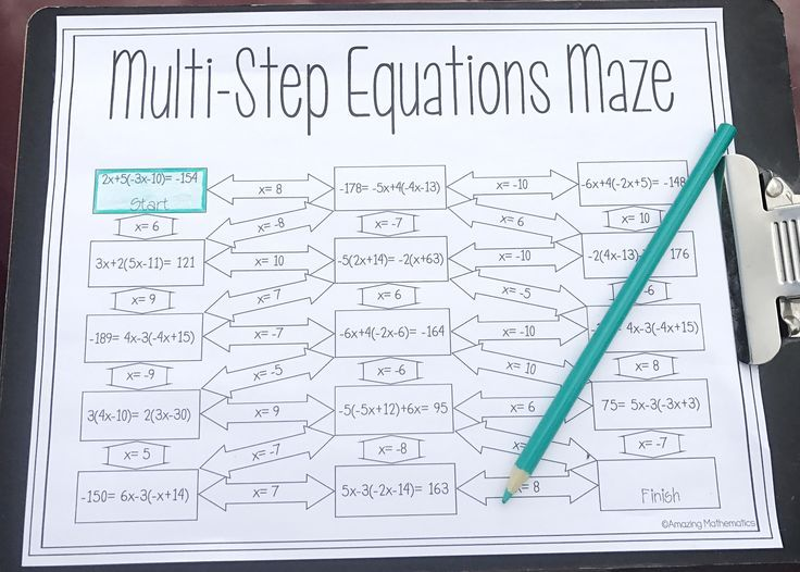 Solving MultiStep Equations Maze Worksheet Solving