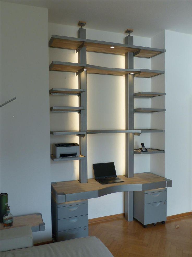Ideal MONTAN Schreibtischregal konzepiert und gebaut f r eine Stadtwohnung in K ln MONTAN exklusive M bel aus Eisen