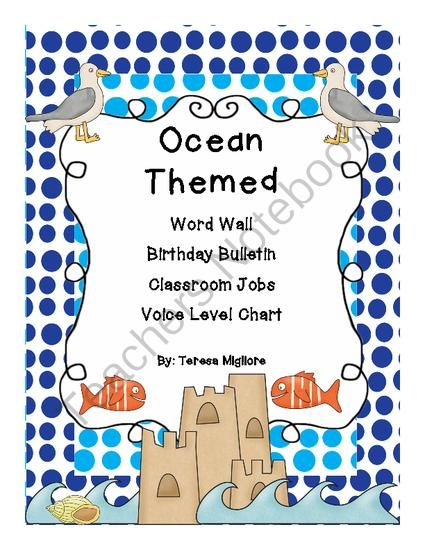 Ocean Themed Bulletin Boards from Teresa Gregorio on TeachersNotebook.com (51 pages)  - Welcome back my sea loving friends!  In this download you will find:  Birthday Beach Bulletin Board -Sand Castles labeled with each month and sand pails to write your students names on it  Word Wave Wall -A-Z sand piles and Word Wave Wall header  Classroo