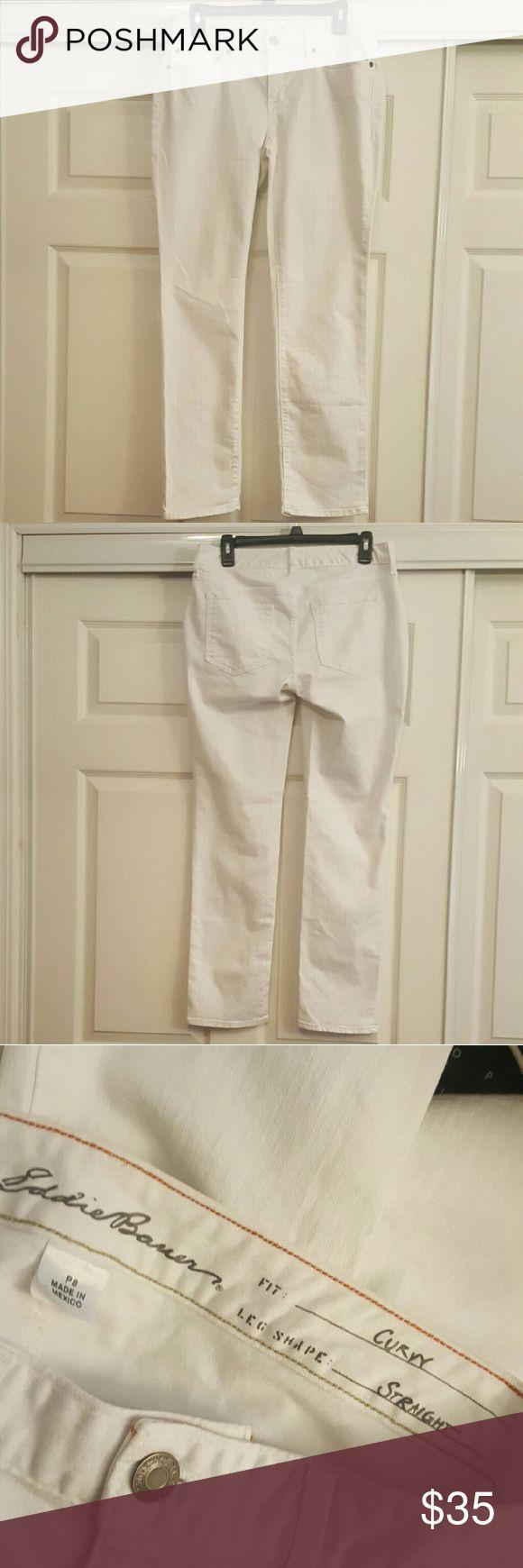 """Eddie Bauer White Curvy Jeans Size 8P Straight leg Curvy Fit Size P8  width: 16"""" length: 39"""" inseam: 30"""" Eddie Bauer Jeans Straight Leg"""